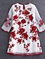 billige Kjoler-Dame Vintage / Kineseri I-byen-tøj Løstsiddende Kjole Broderi,Rund hals Mini 1/2 ærmelængde Blå / Rød Rayon / Polyester SommerAlm.