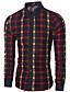 Masculino Camisa Casual Simples Primavera / Outono,Quadriculada Azul / Vermelho Algodão Colarinho de Camisa Manga Longa Média