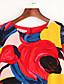 billige Kjoler i plus størrelser-Dame Gade I-byen-tøj Plusstørrelser Skede Kjole Trykt mønster,Rund hals Over knæet Kortærmet Flerfarvet Polyester Sommer Alm. taljede