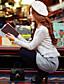 preiswerte Damen Oberteile-Damen Solide Patchwork Niedlich Street Schick Anspruchsvoll Ausgehen Lässig/Alltäglich Urlaub T-shirt,Rundhalsausschnitt Frühling Herbst
