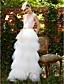 baratos Vestidos de Casamento-Linha A Decote V Longo Renda Tule Vestido de casamento com Apliques Faixa / Fita de LAN TING BRIDE®