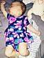 preiswerte Babyoverall-Baby Mädchen Einzelteil Blumen Vintage Modisch Baumwolle Sommer Kurzarm Blumig Marineblau