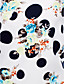 cheap Fashion & Jewelry-Women's Print Blue  White Blouse , Round Neck Long Sleeve
