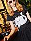 billige Todelt dress til damer-Polyester Mikroelastisk Kort Erme,Rund hals Bluse Skjørt Drakter Ensfarget Sommer Høst Enkel Fest Ut på byen Fritid/hverdag Dame