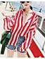 billige Skjorter til damer-Polyester Normal 3/4 erme,Skjortekrage Trenchcoat Stripet Sommer Enkel Ut på byen Dame