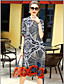 cheap Women's Dresses-Women's Going out Cute Sheath Dress,Print Round Neck Midi Half Sleeves Silk Summer Mid Rise Micro-elastic Medium