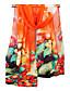baratos Cachecóis da Moda-Mulheres Chiffon, Retângular - Estampado Floral