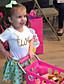 cheap Girls' Clothing Sets-Girls' Polka Dot Clothing Set, Cotton Summer Short Sleeves Blushing Pink Light Green