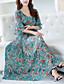 cheap Women's Dresses-Women's Going out Street chic Flare Sleeve Chiffon / Swing Dress Print Maxi V Neck / Summer