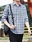 Bomull Polyester Medium Langermet,Skjortekrage Skjorte Ensfarget Stripet Rutet Vår Høst Vintage Enkel GatemoteSport Klubb Plusstørrelser