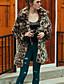 cheap Women's Fur Coats-Women's Vintage Plus Size Faux Fur Fur Coat - Leopard Shirt Collar