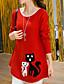 preiswerte Damen Pullover-Damen Lang Pullover-Lässig/Alltäglich Druck Rundhalsausschnitt Langarm Baumwolle Herbst Winter Mittel Mikro-elastisch