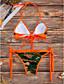رخيصةأون ملابس السباحة والبيكيني 2017 للنساء-M L XL طباعة ملابس السباحة بيكيني برتقالي زهري قبة مرتفعة حول الرقبة زهري نسائي / مثير