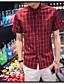 זול חולצות לגברים-משובץ דמקה פשוט חולצה - בגדי ריקוד גברים / שרוולים קצרים