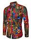 זול חולצות לגברים-פרחוני צווארון קלאסי רזה מידות גדולות פשתן, חולצה - בגדי ריקוד גברים דפוס / שרוול ארוך