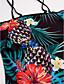cheap One-piece swimsuits-Women's Boho Strap / Off Shoulder Black Bandeau Briefs One-piece Swimwear - Floral Tropical Leaf Ruffle / Print L XL XXL / Sexy