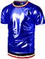 preiswerte Herren T-Shirts & Tank Tops-Herrn Solide - Street Schick / Punk & Gothic Klub T-shirt, Rundhalsausschnitt Gold L / Kurzarm