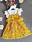 abordables Robes pour Filles-Enfants Fille Le style mignon Chic de Rue Fleur Mosaïque Mosaïque Imprimé Manches Courtes Rayonne Polyester Robe Jaune