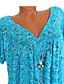 hesapli Gömlek-Kadın's V Yaka Gömlek Kırk Yama / Desen, Çiçekli / Geometrik / Grafik Sarı