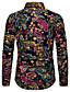 זול חולצות לגברים-פרחוני / גראפי / שבטי צווארון קלאסי פאנק & גותיות מועדונים חולצה - בגדי ריקוד גברים דפוס שחור / שרוול ארוך