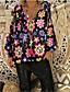 hesapli Tişört-Kadın's Tişört Çiçekli Siyah