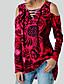 billige T-skjorter til damer-Løstsittende V-hals T-skjorte Dame - Hodeskaller, Blondér Gatemote Svart & Rød / Svart og hvit Rød