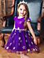 hesapli Elbiseler-Çocuklar Toddler Genç Kız Temel Tatlı Galaksi Dantel Kırk Yama Desen Kolsuz Diz-boyu Elbise YAKUT / Pamuklu