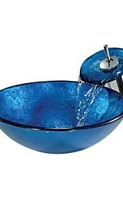 Lavandino bagno Rubinetto per bagno Moderno - Vetro temperato Tondo