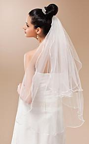Deux couches Bord crayon Voiles de Mariée Voiles bout du doigt Avec Perle 35,43 dans (90cm) Tulle A-ligne, Robe de bal, Princesse,