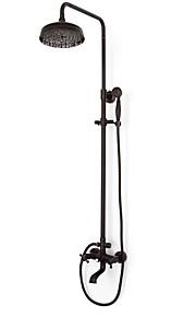 샤워 수전 - 앤티크 오일럽된 브론즈 샤워 시스템 브라스 발브 Bath Shower Mixer Taps / 두 핸들 세 개의 구멍