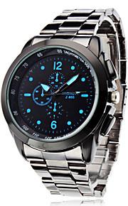 남성용 드레스 시계 손목 시계 스테인레스 스틸 석영 실버 캐쥬얼 시계 아날로그 클래식 패션 - 화이트 블랙