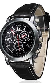 남성용 손목 시계 석영 퀼트 인조 가죽 블랙 / 브라운 캐쥬얼 시계 아날로그 참 클래식 - 화이트 블랙