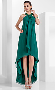 A-Line Princess Halter Knee Length Asymmetrical Chiffon Homecoming / Formal Evening Dress with Beading Draping by TS Couture®