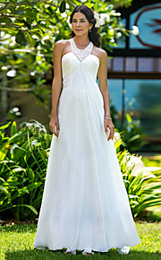 e05d701c66b5 Pouzdrové Klenot Dlouhá vlečka Šifón Svatební šaty vyrobené na míru s  Korálky   Nabírané po stranách