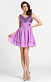 Princess V Neck Short / Mini Chiffon Sequined Cocktail Party Prom Dress with Flower Ruched by TS Couture®