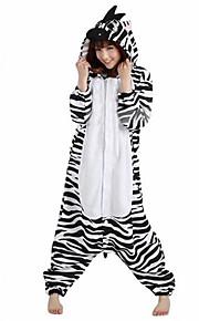 어른' 올인원 캐릭터 파자마 얼룩말 동물 점프수트 파자마 폴라 플리스 블랙 / 화이트 코스프레 에 대한 남자와 여자 동물 잠옷 만화 페스티발 / 홀리데이 의상