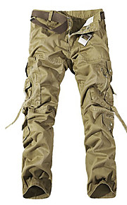 สำหรับผู้ชาย Military ฝ้าย หลวม / เพรียวบาง / กางเกง Chinos กางเกง - สีพื้น มรกต / แขนยาว / สุดสัปดาห์