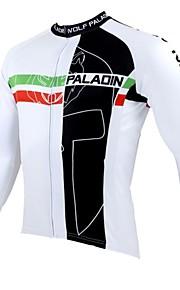 ILPALADINO Homme Manches Longues Maillot de Cyclisme - Blanc Noir Vélo Maillot, Garder au chaud, Séchage rapide, Résistant aux