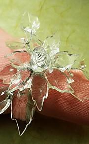 12 unids / set 3.5 cm acrílico hoja servilleta anillo vajilla mesa de almacenamiento