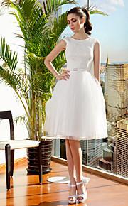 Robe de Soirée Bijoux Mi-long Dentelle sur Tulle Robes de mariée personnalisées avec Ceinture / Ruban Broche florale en Cristal par LAN