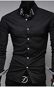Муж. Офис Классический Рубашка Воротник с уголками на пуговицах (button-down) Тонкие Деловые Однотонный Белый L / Длинный рукав