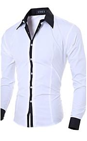 Муж. Офис Рубашка Хлопок Тонкие Деловые / На каждый день Однотонный Серый L / Длинный рукав / Весна / Осень