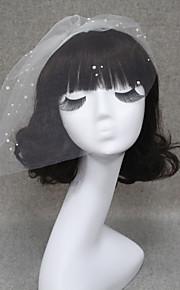 Une couche Bord coupé Voiles de Mariée Voiles Blush Voiles pour cheveux courts Avec Perle Tulle