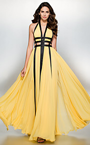 A-Line Plunging Neckline Floor Length Chiffon Prom / Formal Evening Dress with Split Front by TS Couture®