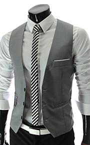 Муж. Офис Весна / Осень Обычная Жилет, Однотонный V-образный вырез Без рукавов Полиэстер Черный / Серый / Винный L / XL / XXL / Бизнес-формальный / Тонкие