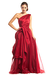 A-Line One Shoulder Floor Length Organza Satin Prom / Formal Evening Dress with Side Draping by TS Couture®