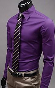 Муж. Офис Классический Большие размеры - Рубашка Хлопок, Классический воротник Тонкие Деловые Однотонный Розовый XL / Длинный рукав / Весна / Осень