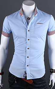 Муж. Офис Классический Большие размеры - Рубашка Хлопок, Воротник с уголками на пуговицах (button-down) Тонкие Однотонный Черный L / С короткими рукавами / Лето