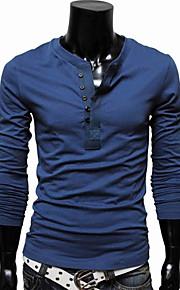 Ανδρικά Μεγάλα Μεγέθη T-shirt Βαμβάκι Μονόχρωμο Λεπτό Μπλε XL / Μακρυμάνικο / Άνοιξη / Φθινόπωρο
