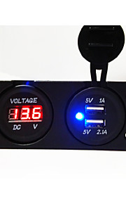 dubbele usb 2.0 poort autolader met led-spanningsindicator lcd-scherm